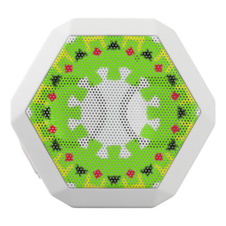 Green pattern with red black yellow shapes inside