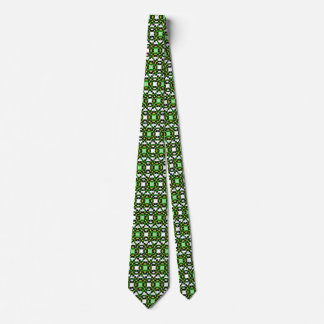 Green patterned checkered tie