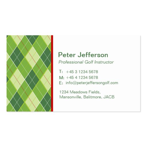 Green patterned Golf instructor business cards