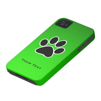 Green Paw Print iPhone 4 Cases