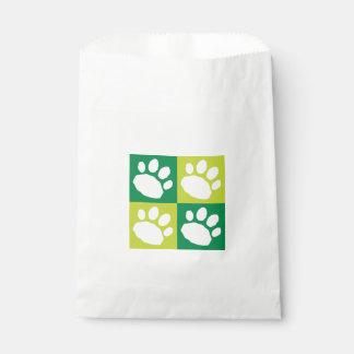Green Paw Print Checkerboard Doggie Bag