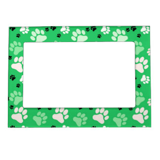 Green Paw Print Frame Magnets