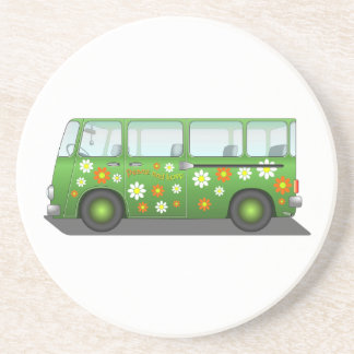 Green Peace and Love Van Drink Coaster