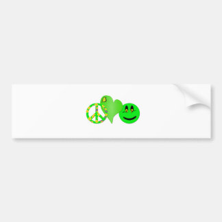 Green Peace Love Happiness Bumper Sticker