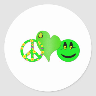 Green Peace Love Happiness Round Sticker