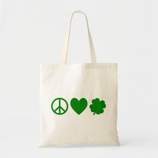Green Peace Love & Shamrocks Tote Bag