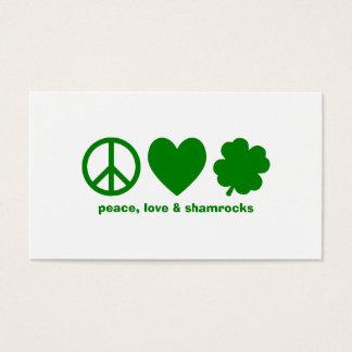 Green Peace Love & Shamrocks Business Card