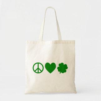 Green Peace Love & Shamrocks Tote Bag