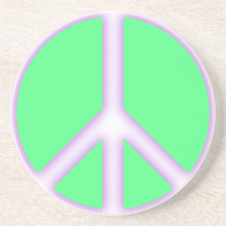 Green Peace Sign Sandstone Coaster