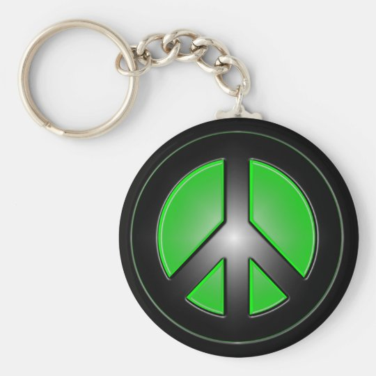 green peace sign key ring