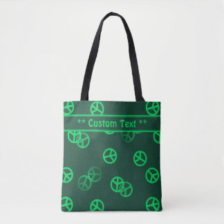Green Peace Sign Pattern w/ Custom Text Tote Bag