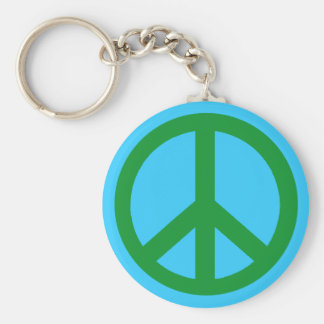 Green Peace Sign Products Basic Round Button Key Ring