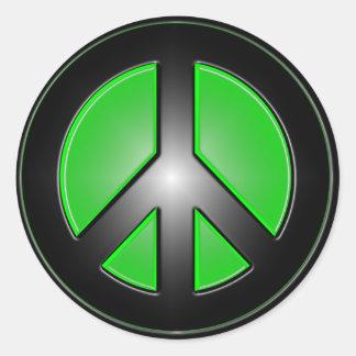 Green peace sign round sticker