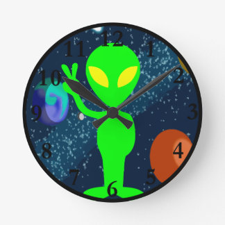 Green Peace Space Alien Round Clock