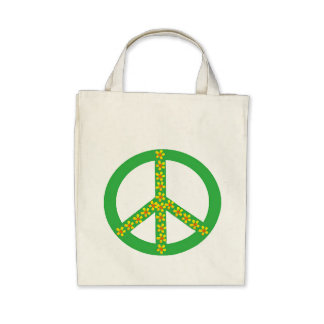 Green Peace Symbol w yellow/orange flowers Canvas Bag