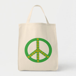 Green Peace Symbol w yellow/orange flowers Grocery Tote Bag