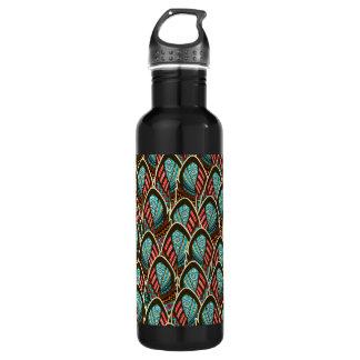 Green Peacock boho feather pattern 710 Ml Water Bottle