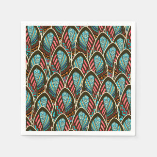 Green Peacock boho feather pattern Disposable Napkins