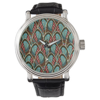 Green Peacock boho feather pattern Watch