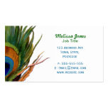 Green Peacock feather Business Cards