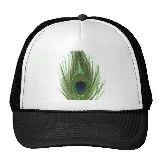 Green Peacock Feather Trucker Hats