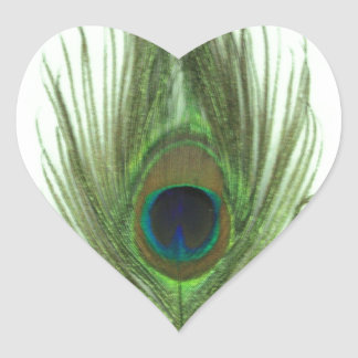 Green Peacock Feather Heart Sticker