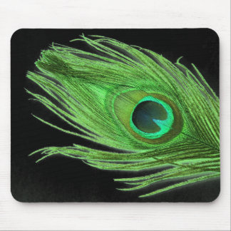 Green Peacock Feather on Black Mouse Mat