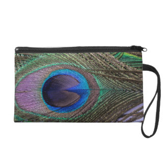 Green Peacock Feather Satin Clutch Bag Wristlet