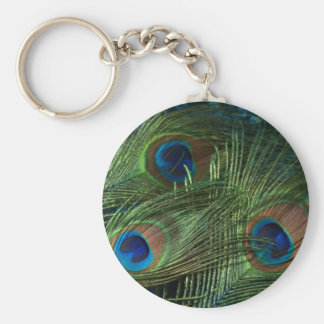 Green Peacock Feathers Basic Round Button Key Ring