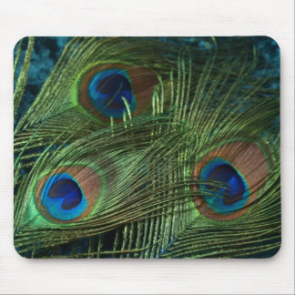 Green Peacock Feathers Mouse Mat