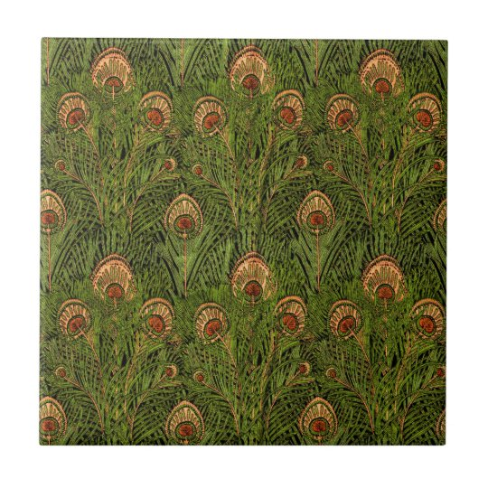 Green Peacock Feathers Tile