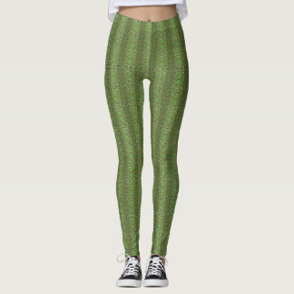 Green Peacock Print Leggings