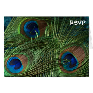 Green Peacock Wedding RSVP Card