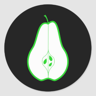 Green Pear Half. Classic Round Sticker