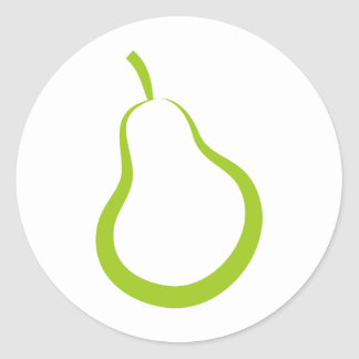 Green Pear Round Sticker