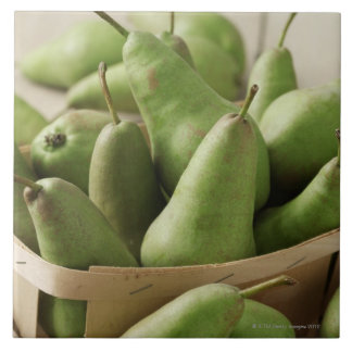 Green Pears in Punnet and Wooden Table Large Square Tile