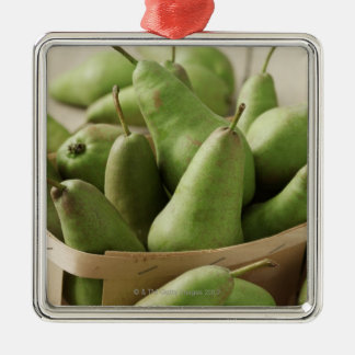 Green Pears in Punnet and Wooden Table Silver-Colored Square Decoration