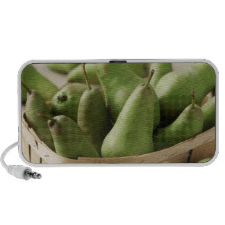 Green Pears in Punnet and Wooden Table Travelling Speaker