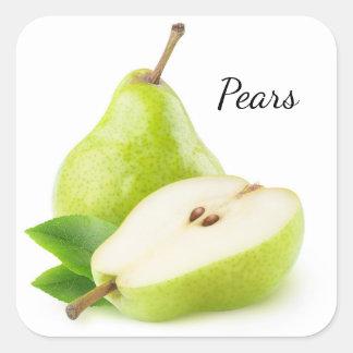 Green pears square sticker