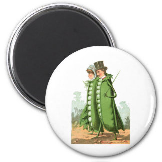 Green Peas Vintage Food Ad Art 6 Cm Round Magnet