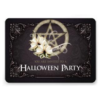 Green Pentagram Halloween Party Invitation 1