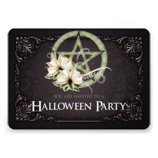 Green Pentagram Halloween Party Invitation 2