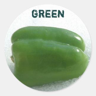 Green pepper classic round sticker