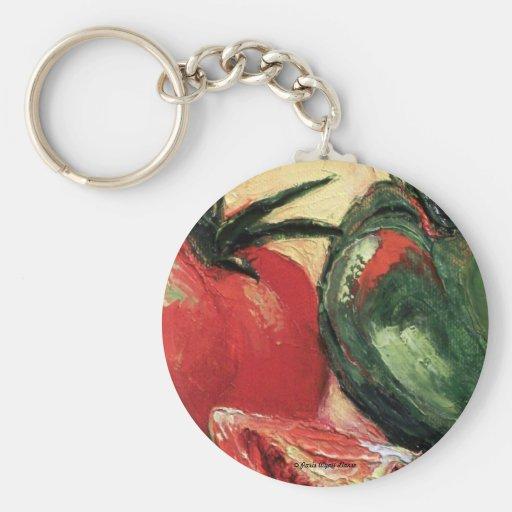 Green Pepper & Tomato Key Chains