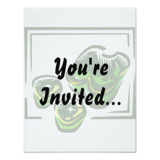 Green peppers cartoon in green square 11 cm x 14 cm invitation card