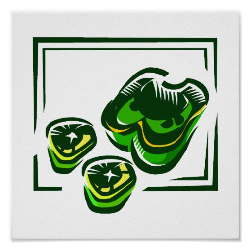 Green peppers cartoon in green square poster
