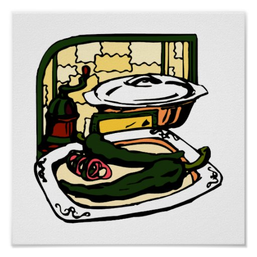 green Peppers pan grinder kitchen scene graphic Posters