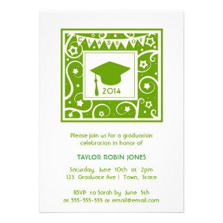 Green Personalizable class year Graduation Personalized Invites