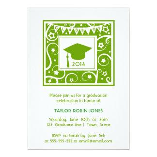 Green Personalizable class year Graduation 5x7 Paper Invitation Card