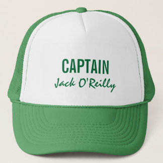 Green Personalized Captain Trucker Hat
